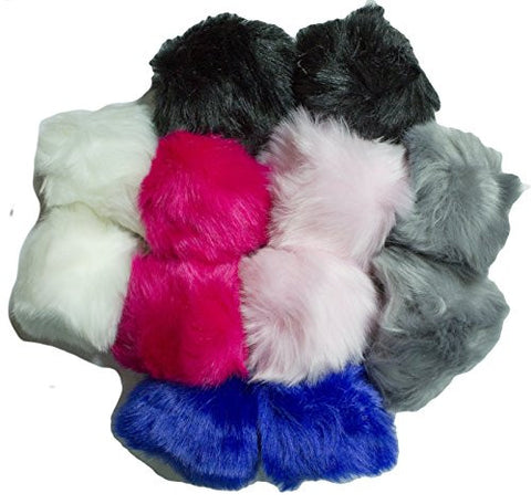 Fluffy Short Haired High Fashion Faux Fur Keychain (12 Pack)
