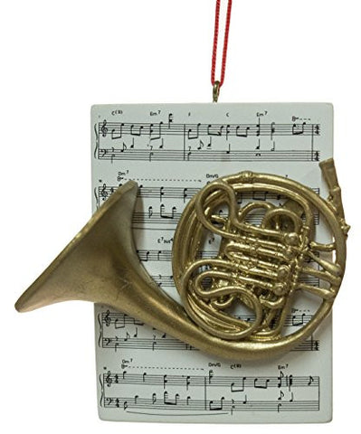 "3"" Music Lovers Brass Instrument & Sheet Music Christmas Ornament"