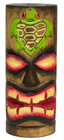 6 Inch Tall Hand Carved, Hand Painted Tiki Totem Pole  - Turtle