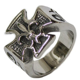 Men's Stainless Steel Dress Ring Iron Cross with Fleur De Lis 091