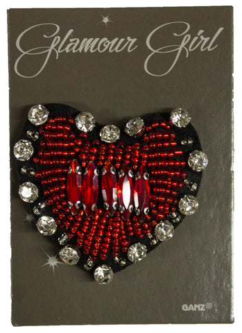 Glamour Girl Bling Pin - High Quality Patch Pin w/ Rhinestones -Heart