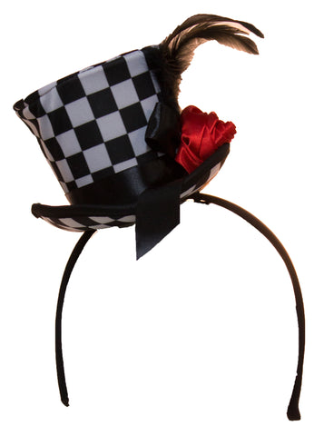 Checkered Mini Top Hat Headband with Feathers & Flower