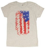 Ladies American Flag 4th Of July Tribute Patriotic Distressed T-Shirt