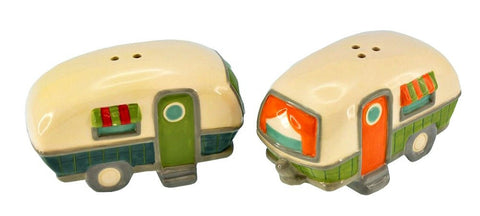 Rv Salt and Pepper Shaker - Two Camper Trailers with Striped Awnings - Camping