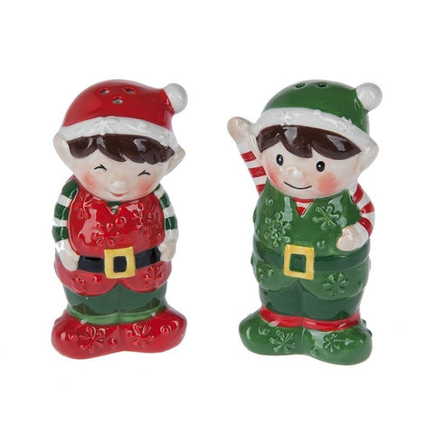 Christmas Elves Ceramic Salt & Pepper Shaker Set