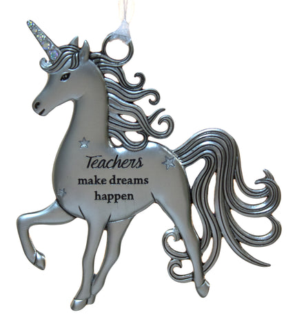 3 Inch Inspirational Zinc Unicorn Ornament - Teachers