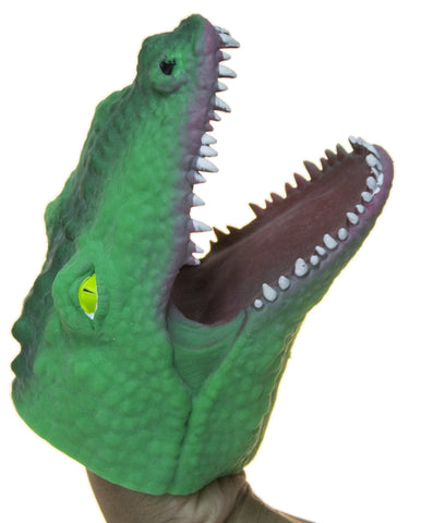 Soft Rubber Realistic 6 Inch Alligator Hand Puppet (Dark Green)