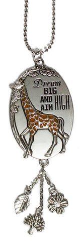 Dream Big and Aim High Giraffe Car Charm With Dangles