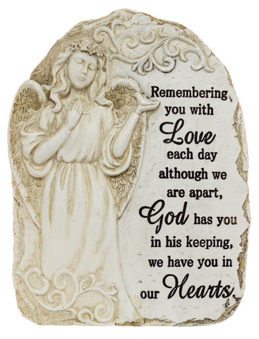 "7.5 Inch tall Polystone Memorial Stone ""Remembering you with love…"""