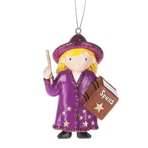 Girl Wizard and Book of Spells Resin Stone Christmas Ornament Figurine