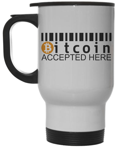 Bitcoin Accepted Here White 12 oz Hot/ Cold Travel Mug