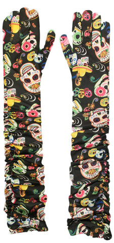Costume Accessory - Day of the Dead All Over Print Long Rouched Gloves