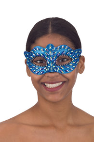 Costume Accessory- Blue Faux Jeweled Mask w/ Elastic Strap