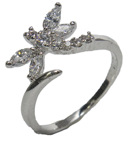 Women's Rhodium Plated Dress Ring Dragonfly Wrap Around CZ 002