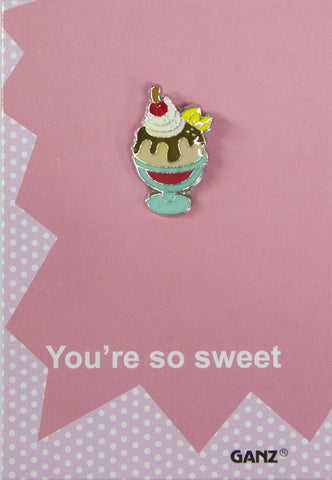 Lapel Pin Hat Pin Tie Tack with Colorful Enamel and Funny Pun- Sundae