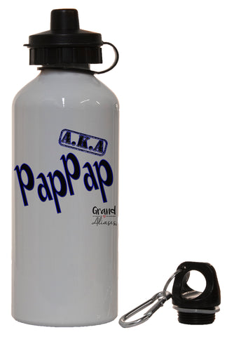 "Grand Aliases Series Grandfather ""A.K.A. PapPap"" White Aluminum 14oz Water Bottle"