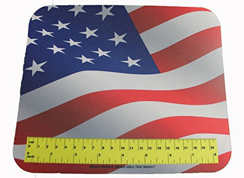 Mouse Mats USA Flag Mouse Pad With Actual Size Ruler