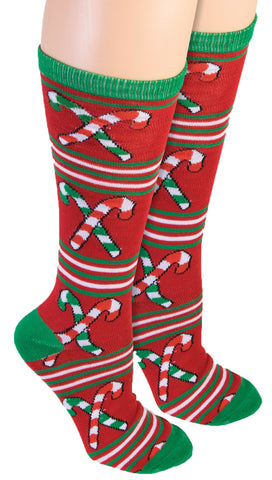 Forum Women's Ugly Christmas Candy Cane Knee Socks, Red/Green, One Size