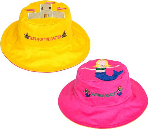 Luvali Convertibles LCKDS3SMS Mermaid-Sandcastle Reversible Kids Hat Small