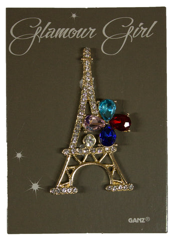 Glamour Girl Bling Pin - High Quality Fashion Pin w/ Rhinestones -Eiffel Tower