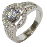 Women's Rhodium Plated Dress Ring Circle Brilliant Cut CZ 110