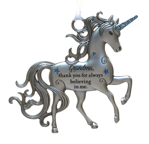 3 Inch Inspirational Zinc Unicorn Ornament - Grandma