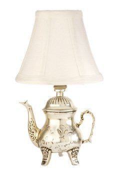 Small Silver Teapot Accent Table Lamp