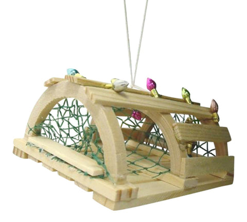 Coastal Nautical Wooden Lobster Trap Christmas Holiday Ornament