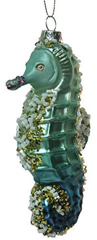 "4.5"" Seahorse Blown Glass Christmas Ornament"