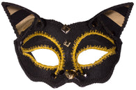 Costume Accessory - Cat Shaped Carnival Mask w/ Shiny Gold Accents