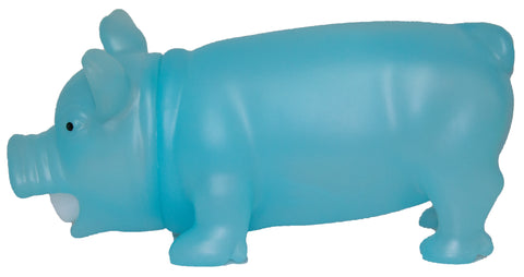 8 Inch Soft Plastic Squeezable Glow In The Dark Squealing Pig (Blue)
