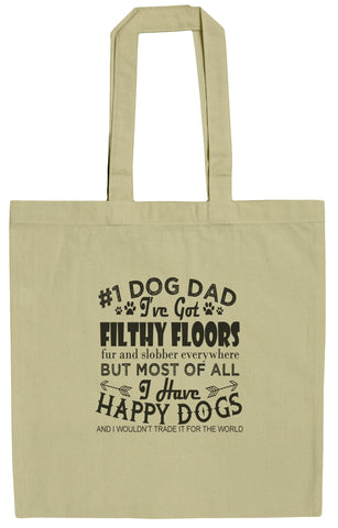Dog Lovers #1 Dog Dad 15 Inch Canvas Tote Bag