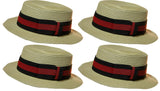 *4 Pack* Men's 3.25 Inch Deluxe Barber Shop Quartet Skimmer Hat