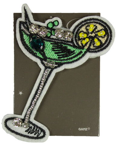 Glamour Girl Bling Pin - High Quality Patch Pin w/ Rhinestones -Martini