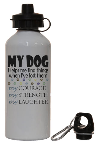 Dog Lovers My Dog Helps Me Find Things White Aluminum 14 Oz Water Bottle