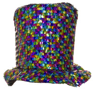 Costume Accessory - Shiny Rainbow Colored Felt Top Hat