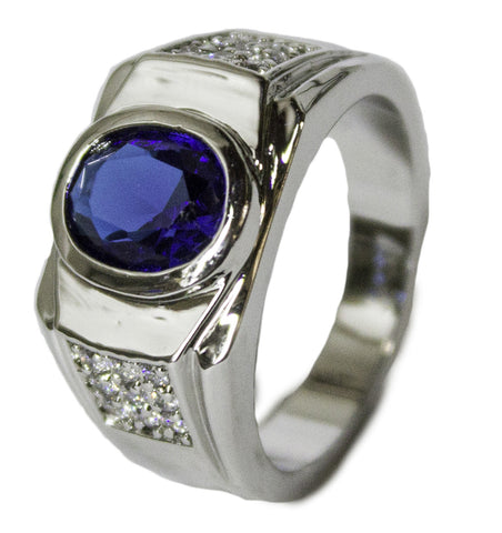 Men's Rhodium Plated Synthetic Sapphire and CZ Dress Ring 064