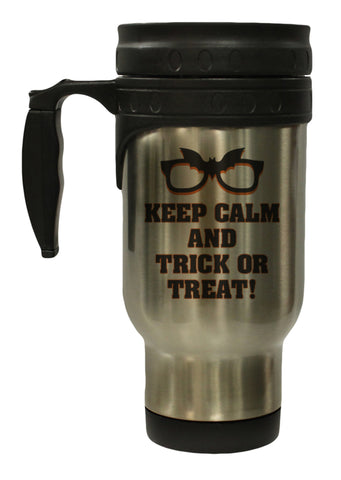 Keep Calm and Trick Or Treat Halloween 12 oz Hot Cold Travel Mug