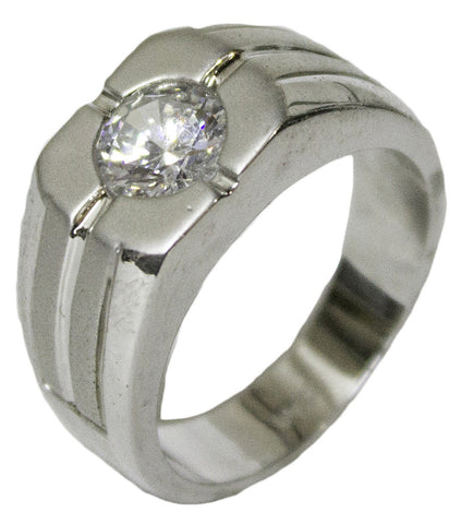 Men's Rhodium Plated Dress Ring Round Cut CZ 070