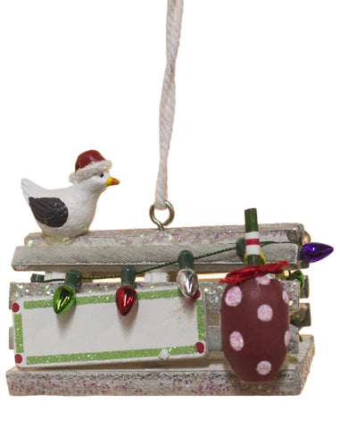 Seagull on Wooden Trap Ornament
