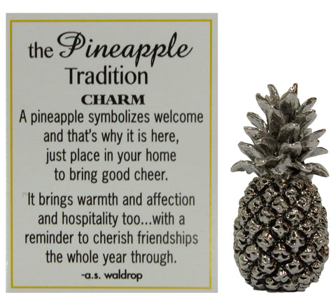 The Pineapple Tradition Zinc Pinaeapple Pocket Charm by Ganz w/ Story Card