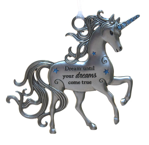 3 Inch Inspirational Zinc Unicorn Ornament - Dreams until your dreams come true