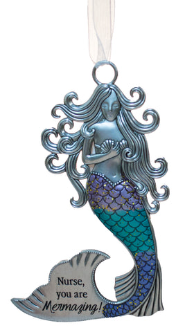 3.5 Inch Zinc Mermazing Mermaid Ornament- Nurse