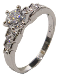 Women's Rhodium Plated Dress Ring Round and Princess Cut CZ 015