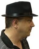 Black Razor Fedora Hat with Black Satin Band