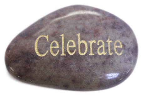 Inspirational Message Stones Engraved with Uplifting Words of Wisdom - Celebrate
