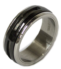 Men's Stainless Steel Dress Ring Two Tone Worry Band 086