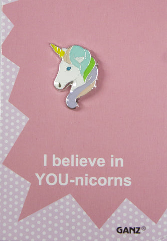 Lapel Pin Hat Pin Tie Tack with Colorful Enamel and Funny Pun- Unicorn
