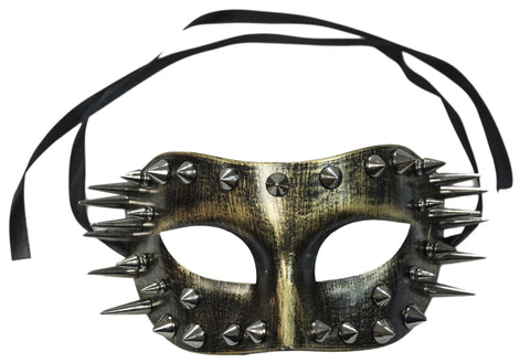 Steampunk Masquerade Gold Spiked Plaster Mask (76000)