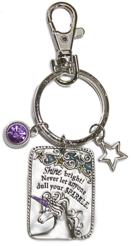 4 Inch Zinc Unicorn Key Chain - Never Let Anyone Dull Your Sparkle
